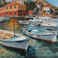 """Greek Harbor"" 24""x36"" oil on linen"