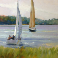 """Soft Breeze Sailing"" 24""x36"" oil on linen, Sold"